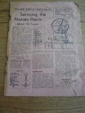 MASSEY HARRIS 102 TRACTOR SERVICING GUIDE Brochure jm