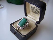 GORGEOUS VINTAGE STERLING SILVER MALACHITE MARCASITE RING RARE SIZE P ADJUSTABLE