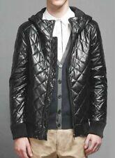 Men's Jacket Genuine Lambskin Leather Quilted Black Motorcycle Hooded Jacket