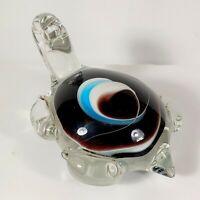 BLOWN ART GLASS SEA TURTLE blue brown white swirl PAPERWEIGHT / DECOR