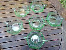 More details for art deco green glass bowls berry dessert x6