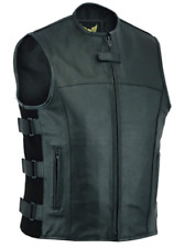 Leatherick Mens SWAT Tactical Style side lace Motorcycle Biker Leather vest