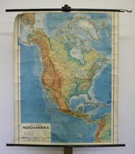 Schulwandkarte Nordamerika USA Kanada 84x106cm ~1951 vintage america wall map