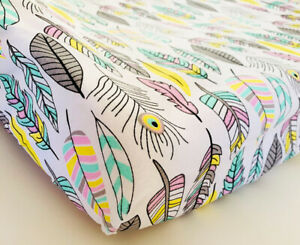 GOOSEBERRY Fitted Change Table Mat Pad Cover Cotton Feathers