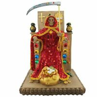 "12"" Red Santa Muerte Statue Holy Death Grim Reaper Owl on Throne"