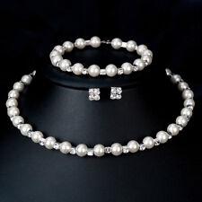 KD_ Elegant Women Faux Pearl Necklace Bracelet Stud Earrings Jewelry Set Gift