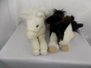 "Lot of 2 Brown & White Aurora Horse Plush Stuffed Animal Toy 16"" Lying Pony"