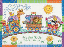 Cross Stitch Kit ~ Dimensions Baby Express Animal Train Birth Record #73428