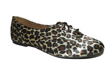New Black Brown Leopard Cheetah oxford Flat Moccasin Loafer lace up Shoes Sz 10