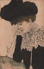 SARAH BERNHARDT AUTOGRAPH Orig. Water Colour Hand Painted P/C 1907 ONE OF A KIND