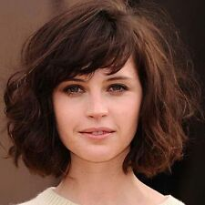 100% Real Hair! Trendy Deep Brown Shaggy Wavy Attractive Short Wig For Women