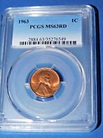 1963 1C RD Lincoln Cent-PCGS MS63RD--390-1