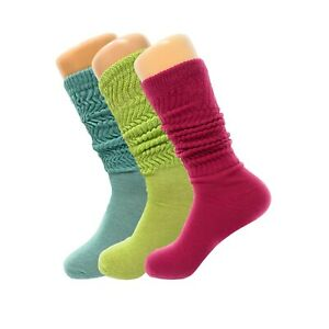 3 Pairs Pack Colorful Slouch Scrunch Knee High Sock with Thin Sole Size 9-11