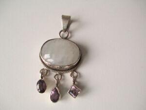 Silver Moonstone & Amethyst Pendant