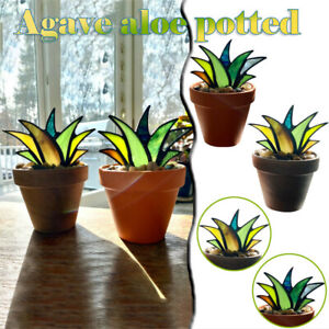 Mini Artificial Agave Aloe Plant Potted Stained Glass Decor, Colorful Fake Grass