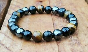 Shungite Bracelet with Hematite, Tigers Eye, and Obsidian