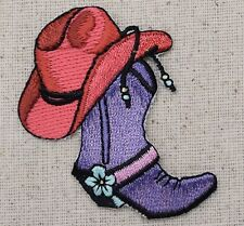 Iron On Embroidered Applique Patch Western Purple Cowboy Boot and Pink Hat