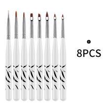 8Pcs UV Gel Nail Art Brush Set Painting Drawing Pen Nail Manicure DIY Polish