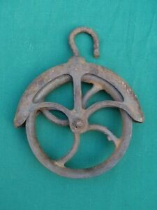 """Antique Primitive Cast Iron Old Farmhouse WELL PULLEY 7"""" Original STEAMPUNK NR"""