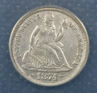 1874  ANACS AU50 Details (Cleaned) Seated Liberty Dime!!