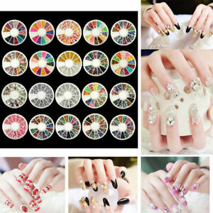 3D Nail Art Rhinestones Glitters Beads Acrylic Tips Decorations Wheels Nails DIY