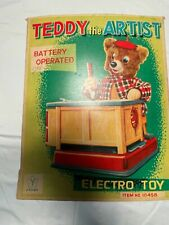 Vintage Yonezawa Teddy the Artist Toy Tin Battery Operated With Box