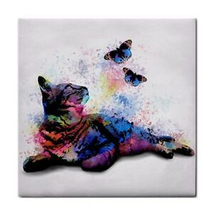 Large Ceramic Tile 6x6 Cat 614 butterfly pink blue purple digital art by L.Dumas