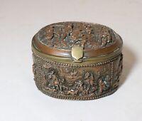 antique ornate 1800's figural bronze brass relic style Victorian box casket case