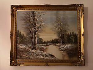 Vintage detailed winter landscape scene, oil painting on canvas framed & signed