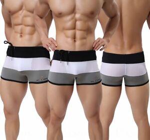 Men's 3 Color Stripes Swim Trunks Swimwear Sexy Mesh Boxer Briefs Underwear S-XL