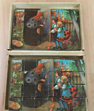 1950s Vintage Wooden Puzzle Blocks Red Riding Hood Kids Grimms Puzzle Picture