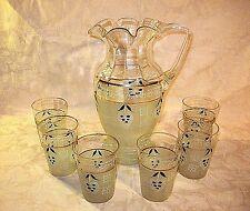 VICTORIAN HAND BLOWN ART GLASS ENAMELED LEMONADE SET FLUTED PITCHER & 6 GLASSES