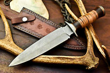 Custom Hand Made Damascus Steel Blade Hunting Knife | Stacked Leather
