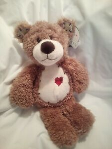 "First & Main Tender Teddy Brown Bear Plush Stuffed Animal Red Heart 12"" NWT"