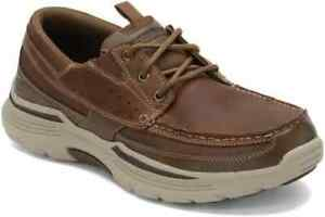 Skechers Men's Brown Air-Cooled Memory Foam Relaxed Fit Boat Shoes 10.5
