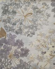DKNY Gray Brown Purple FLORAL FIELDS Window Curtain Panel 50x96 PAIR 100% Cotton
