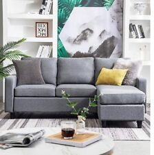 Grey Reversible Sectional Sofa Couch 3-seat L Shape Couch for Small Apartment