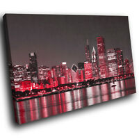 SC343 Red New York City Cool Funky Landscape Canvas Wall Art Large Picture Print