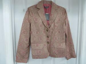 NWT $198 ANN TAYLOR Cotton blend Jacquard Floral Print Blazer Pink/beige  size 8