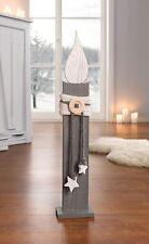 Deko-Säule Kerze 57 cm Holzkerze Holzsäule weiß grau Shabby Chic Weihnachtsdeko