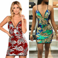Women sexy Sequins Party Print Bodycon Clubwear Cocktail Evening Mini Dress