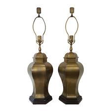 Pair Vintage Wildwood Asian Brass Ginger Jar Lamps Hollywood Regency Mid-Century