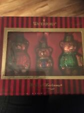 WATERFORD Set Of 3 Heirloom Teddy Bear Hand Blown Glass Ornaments NEW