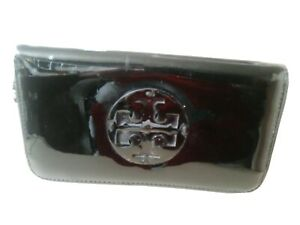 Tory Burch Logo Black Patent Leather Full Zip Around Wallet