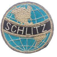 Vtg Schlitz Beer Brewery Gold Tone Bullion Wire Thread Logo Patch Jacket PIN
