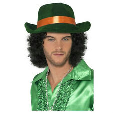 Green Pimp Fedora Hat with Orange Band Great for St. Patrick's Day