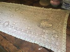 Antique Vintage 2 Tone Lace Table Runner Dresser Scarf w Basket Of Flowers Roses