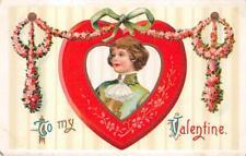 VALENTINE HOLIDAY CHILD HAT HEART EMBOSSED POSTCARD 1118 (c. 1909)