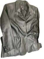 Maggie Barnes Women's Black Leather Jacket 1X