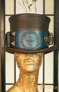 Witch Leather Top Hat Pockets Alchemist Glass Vials Sorcerer Wizard HIGH Top Hat